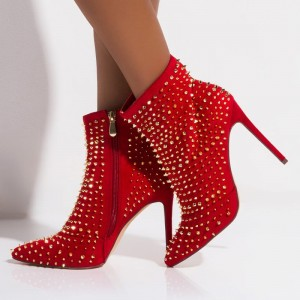 Red Rivets Suede Boots Stiletto Heel Pointed Toe Ankle Boots