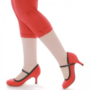 Red Round Toe Mary Jane Pumps