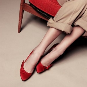Red Satin Bow Comfortable Flats