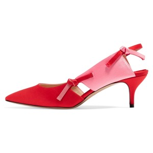 Red Satin Kitten Heel Slingback Pumps