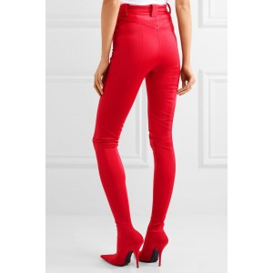 Red Fashion Boots Sexy Stiletto Heels Satin Legging Boots