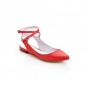 Red Comfortable Flats Ankle Strap Heels Soft Slingback Shoes