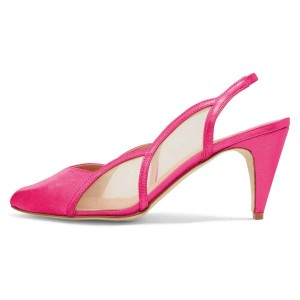 Fuchsia Slingback Shoes Mesh Cone heel Pumps