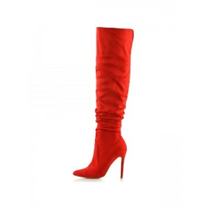 Red Slouch Boots Stiletto Heel Knee-high Boots