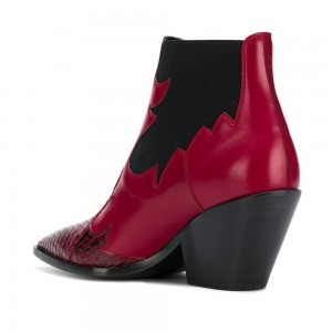 Red Snakeskin Slip on Boots Pointy Toe Chunky Heel Ankle Boots