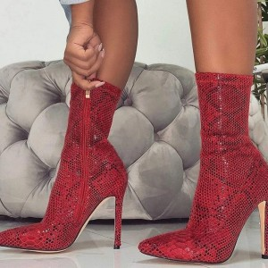 Red Snakeskin Boots Pointed Toe Stiletto Heel Mid Calf Boots