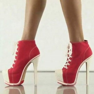 Red Lace up Heels Platform Sneakers for Women