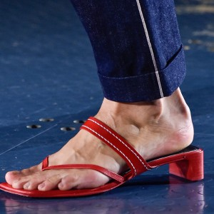Red Square Toe Chunky Heel Thong Sandals