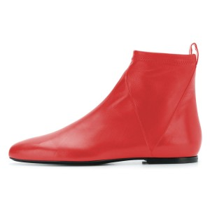 Red Flat Boots Fashion Square Toe Ankle Boots