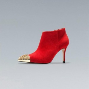 Red Stiletto Boots Pointy Toe Ankle Booties with Metal Embellishment