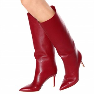 Red Stiletto Boots Pointy Toe Knee High Boots