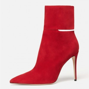 Red Stiletto Heel Fashion Boots Pointy Toe Suede Ankle Boots By FSJ