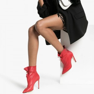 Red Stitch Lace up Stiletto Boots Ankle Boots
