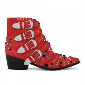 Red Motorcycle Boots Pointy Toe Chunky Heel Rhinestone Short Boots