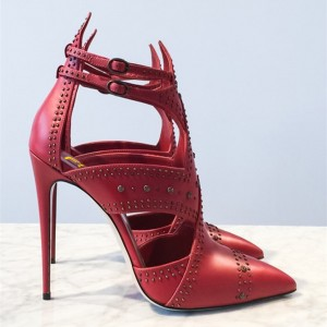 Red Studs Shoes Cut out Pointy Toe Stiletto Heel Pumps
