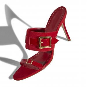 Red Suede and Patent Leather Buckle Mule Heels Sandals