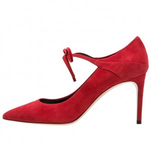Red Suede Lace up Heels Pointy Toe Stiletto Heel Pumps US Size 3-15