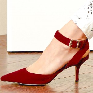 Red Suede Ankle Strap Heels Pointy Toe Office Closed Toe Sandals