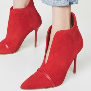 Red Suede Boots Cut Out Stiletto Heel Ankle Boots