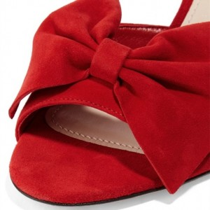 Red Suede Bow Mule Heels