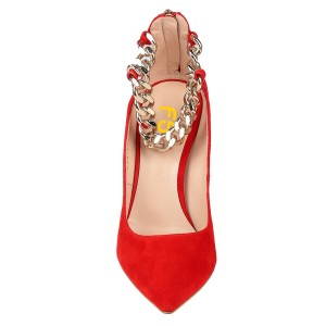 Red Suede Chain Ankle Strap Beads Heels Closed Toe Pumps