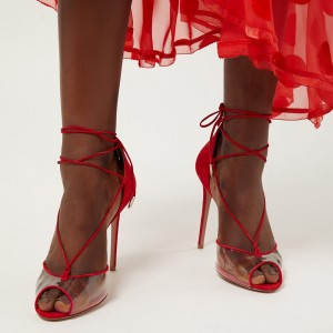 Red Suede Clear PVC Peep Toe Stiletto Heel Strappy Sandals