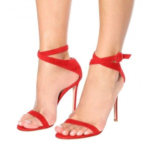 Red Suede Cross Over Stiletto Heel Ankle Strap Sandals