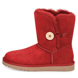 Red Suede Flat Winter Boots