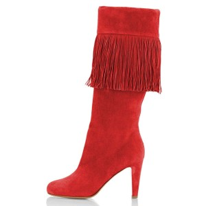 Red Suede Fringe Chunky Heel Boots Knee-high Boots