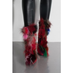 Red Suede Fur Boots Lace Up Chunky Heel Ankle Boots