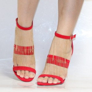 Coral Red Suede Golden Fringe Open Toe Ankle Strap Sandals for Cocktail Party