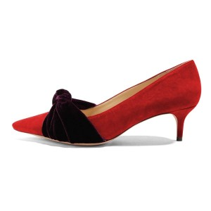 Red Suede Knot Pointy Toe Kitten Heels Pumps for Women