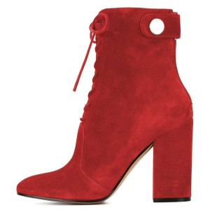 Red Suede Lace up Boots Chunky Heel Ankle Booties