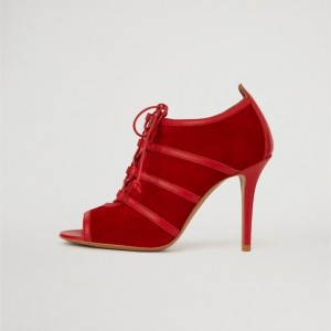 Red Suede Lace Up Peep Toe Booties Stiletto Heel Ankle Boots