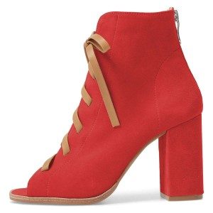 Red Suede Lace Up Peep Toe Chunky Heel Boots