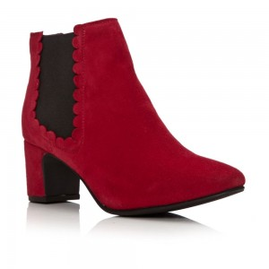 Red Suede Lotus Chelsea Boots Chunky Heels Ankle Booties