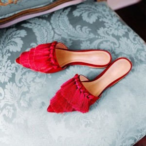 Red Suede Mule Fringe Pointy Toe Flats