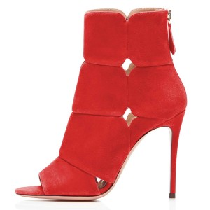 Red Suede Peep Toe Booties Stiletto Heel Ankle Boots