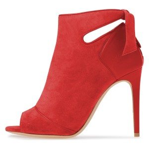 Red Fall Boots Peep Toe Back Tie Stiletto Heel Ankle Booties