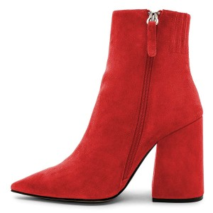 Red Suede Pointy Toe Block Heel Ankle Booties