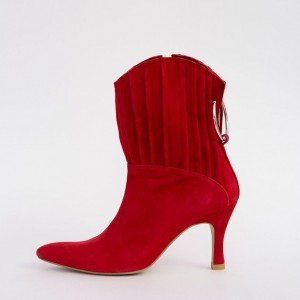 Red Suede Ruffle Spool Heel Ankle Booties with Metal Circle