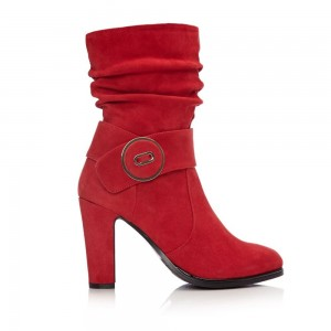 Red Suede Slouch Boots Button Chunky Heel Ankle Booties