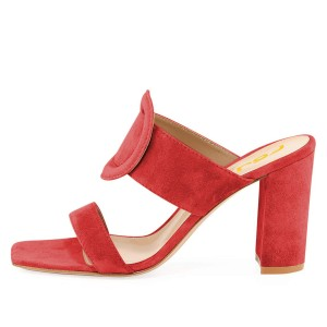 Red Suede Square Toe Chunky Heel Mule Sandals