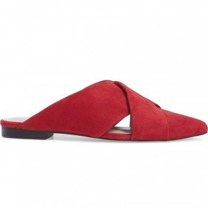 Red Suede Women's Mule Almond Toe Flats