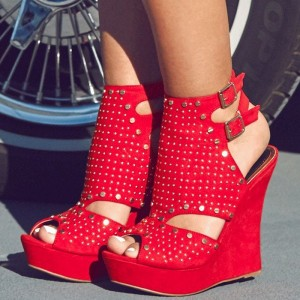 Red Wedge Sandals Peep Toe Suede Platform Studs Shoes