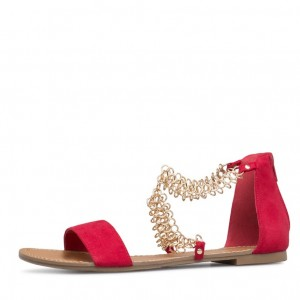 Red Summer Sandals Open Toe Flats Suede Shoes with Chain