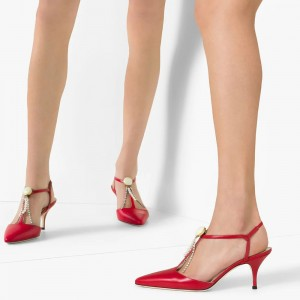 Red T Strap Pumps Kitten Heel Pumps
