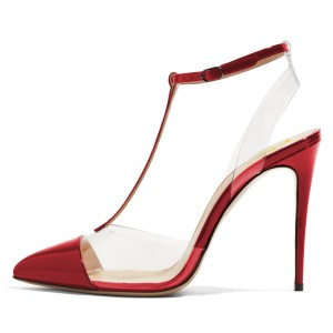 Red T Strap Sandals Mirror Leather Ankle Strap Clear Sandals