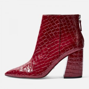 Red Textured Pointy Toe Block Heel Ankle Booties
