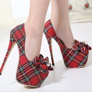 Women's Red Plaid Flowered Stiletto Platform Heels Pump